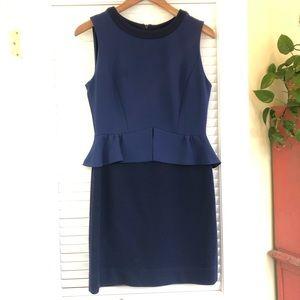 Sandro two tone blue peplum dress